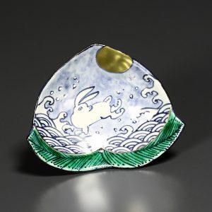 植葉 波兔文桃型小皿